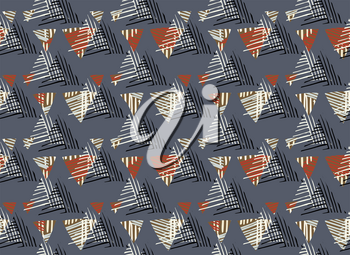 Striped triangles on gray.Hand drawn with ink seamless background.Creative handmade repainting design for fabric or textile.Geometric pattern with triangles.Vintage retro colors