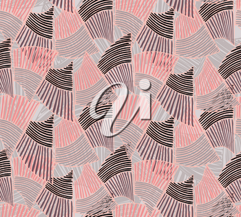 Wavy trapezoids brown and pink.Hand drawn with ink seamless background.Rough texture created with hatched geometrical shapes.