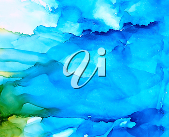 Abstract blue underwater splashes.Colorful background hand drawn with bright inks and watercolor paints. Color splashes and splatters create uneven artistic modern design.