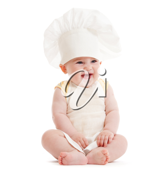 Royalty Free Photo of a Baby Boy in a Chef Hat