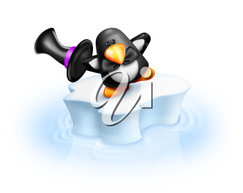 Royalty Free Clipart Image of a Penguin in a Top Hat on an Ice Floe
