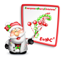 Royalty Free Clipart Image of Santa With a Math Equation