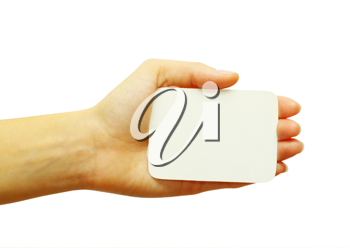 Royalty Free Photo of a Person Holding a Blank Card