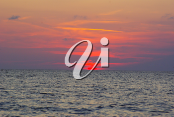 Royalty Free Photo of a Beach at Sunset