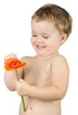 Royalty Free Photo of a Child Holding a Flower