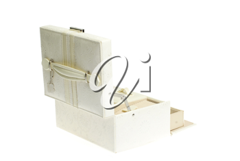 leather cosmetic box on white background