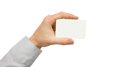 Man hand holding a blank business card