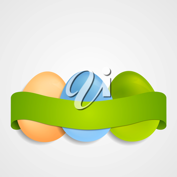Easter egg vector background with green ribbon