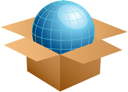 Royalty Free Clipart Image of a Globe in a Cardboard Box