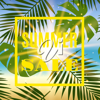 Summer sale banner with palms and sun. Vectoor illustration