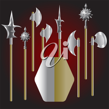 Royalty Free Clipart Image of Medieval Weapons