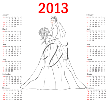 Royalty Free Clipart Image of a Calendar with a Bride