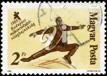 HUNGARY - CIRCA 1988: A stamp printed in Hungary, shows Skaters from 19th century, with inscription and name of series World Figure Skating Championships, Budapest, 1988, circa 1988