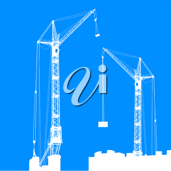 Silhouette of two cranes working on the building. Vector illustration.