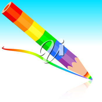 rainbow pencil, vector illustration.