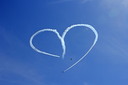 Vintage Aircraft Sky Writing Romantic Heart Shape.