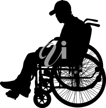 Silhouette of disabled people on a white background. Vector illustration.