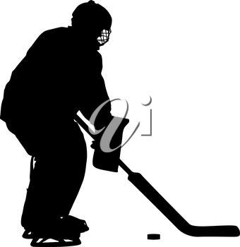 Silhouette of hockey player. Isolated on white. Vector illustrations.