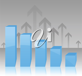 Royalty Free Clipart Image of Arrows with Bar Graph