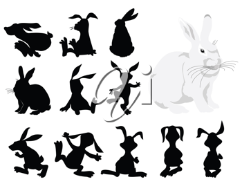 Royalty Free Clipart Image of Rabbits