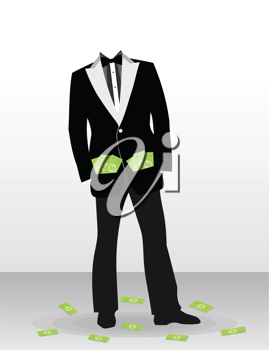 The businessman with dollar instead of a head. A vector illustration