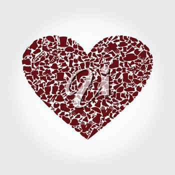 Red heart collected from clothes. A vector illustration