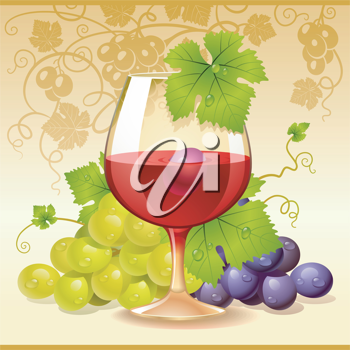 Royalty Free Clipart Image of a Wine and Grapes