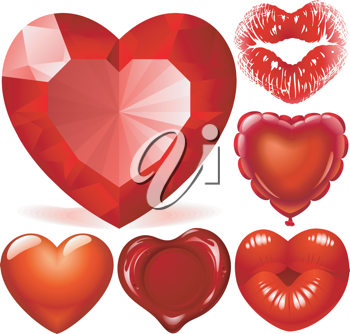Royalty Free Clipart Image of a Red Hearts Set