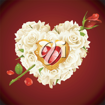Royalty Free Clipart Image of a Rose Heart