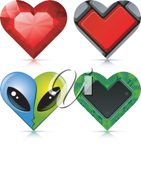 Royalty Free Clipart Image of a Heart Set