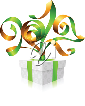 Vector green ribbon and gift box. Symbol of New Year 2017