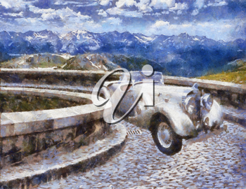 Royalty Free Photo of a Painting of a Vintage Jensen 1939 H-Series Vehicle