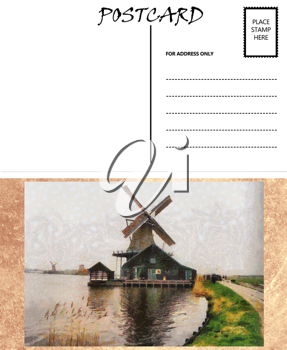 Royalty Free Photo of a Windmill Postcard