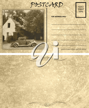 Royalty Free Photo of a Vintage Motor Car Stained Postcard