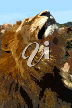 Abstract Close-up picture illustration of Large Lion face