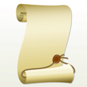 Royalty Free Clipart Image of a Scroll and Seal