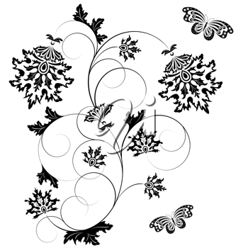 Royalty Free Clipart Image of a Floral Design With Butterflies