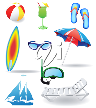 Royalty Free Clipart Image of a Beach Items