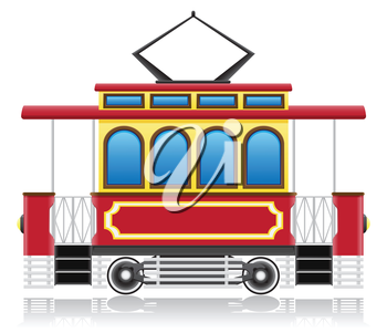old retro tram vector illustration isolated on white background