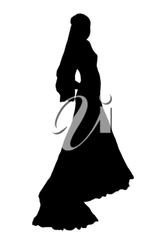 bride realistic silhouette vector illustration isolated on white background
