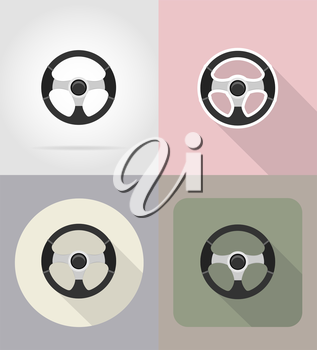car steering wheel flat icons vector illustration isolated on background