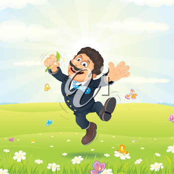 Royalty Free Clipart Image of a Man Jumping in a Field