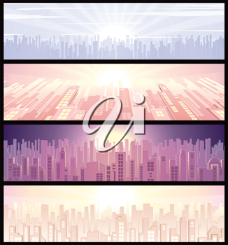 Royalty Free Clipart Image of a Set of Cityscape Backgrounds