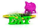 DAY bright word, money, pink piggy, yellow chess on white background