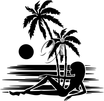 Royalty Free Clipart Image of a Woman on a Beach Silhouette