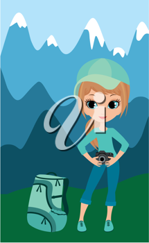 Royalty Free Clipart Image of a Girl With a Camera in the Mountains