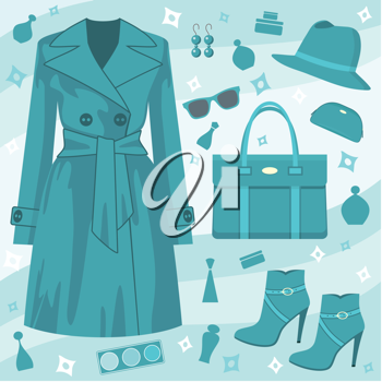 Royalty Free Clipart Image of an Autumn Fashion Set Background