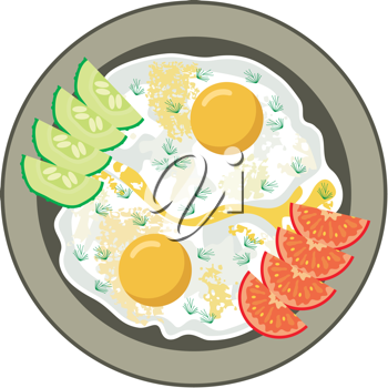 Royalty Free Clipart Image of Fried Eggs, Cucumber and Tomatoes