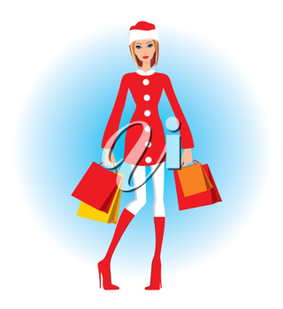Royalty Free Clipart Image of a Woman Christmas Shopping