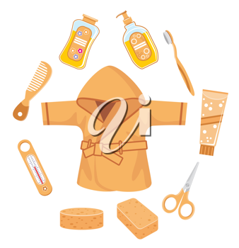 Royalty Free Clipart Image of a Bathing Items for Baby